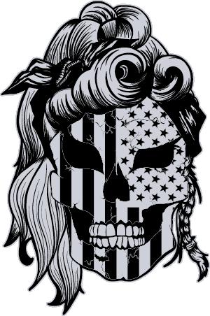 American Grunt Lady Patriot Skull silver black